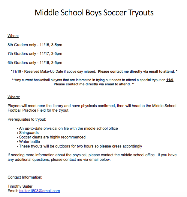 Boys Soccer Tryout Info